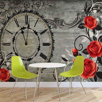 Roses Clock Wood Planks Vintage Valokuvatapetti
