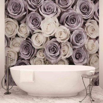Kuvatapetti, Tapettijuliste Roses Flowers Purple White
