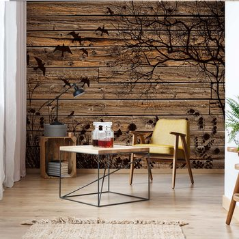 Rustic Birds And Tree Silhouette Wood Plank Texture Valokuvatapetti