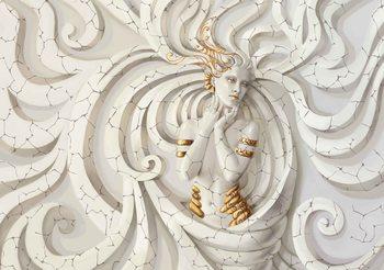 Sculpture Yoga Woman Swirls Medussa Valokuvatapetti