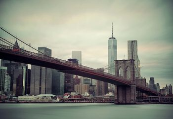 Sepia New York City Skyline Brooklyn Bridge Valokuvatapetti
