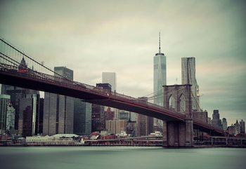 Sepia New York City Skyline Brooklyn Bridge Valokuvatapetti