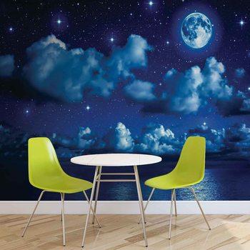 Sky Moon Clouds Stars Night Sea Valokuvatapetti