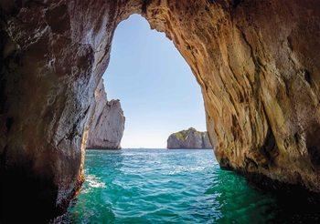 Stone Cave Tunnel Sea Valokuvatapetti