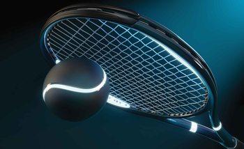Tennis Racket Ball Neon Valokuvatapetti