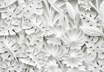 Vintage 3D Carved Flowers White Valokuvatapetti