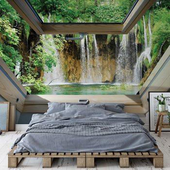 Waterfall 3D Skylight Window View Valokuvatapetti