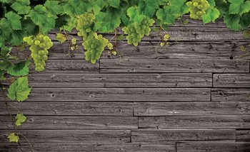Wooden Wall Grapes Valokuvatapetti