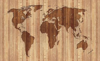 World Map Wood Valokuvatapetti