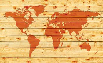 World Map Wood Planks Valokuvatapetti