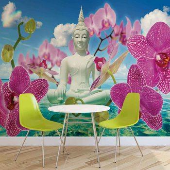 Kuvatapetti, Tapettijuliste Zen Flowers Orchids Buddha Water Sky
