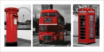 London - Red Triptych Reproduction