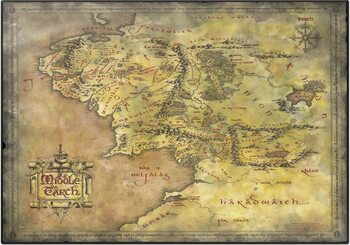Desk Mat The Lord Of The Rings - Middle Earth Map