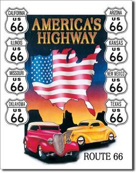 Metal sign AMERICAS HIGHWAY