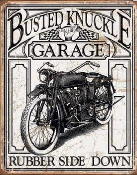 Metal sign BUSTED KNACKLE - Vintage