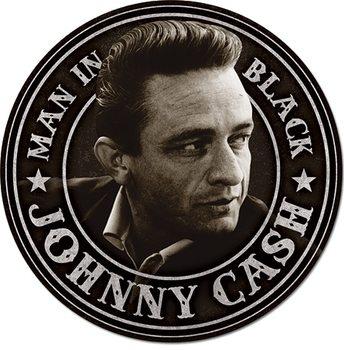 Metal sign Johnny Cash - Man in Black Round