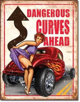 Metal sign LEGENDS - dangerous curves