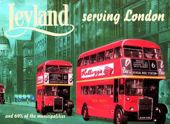 Metal sign Leyland bus