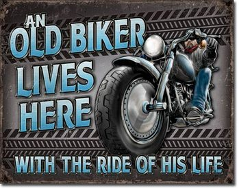 Metal sign Old Biker - Ride