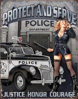 Metal sign POLICE DEPT - protect & serve