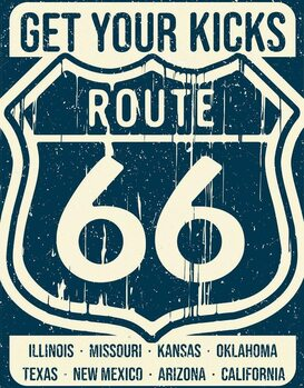 Metal sign Route 66 - States