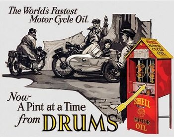 Metal sign Shell - Motorcycle Oil