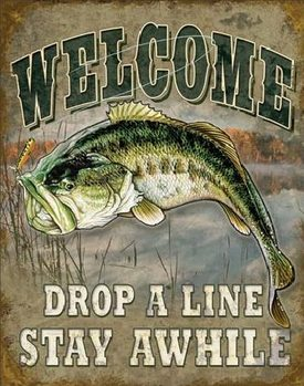 Metal sign WELCOME BASS FISHING