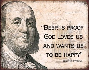 Metal sign Ben Franklin - Beer