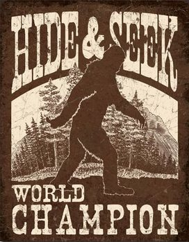 Big Foot - Hide & Seek Metal Sign