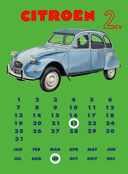 CITROËN 2CV CALENDAR Metal Sign
