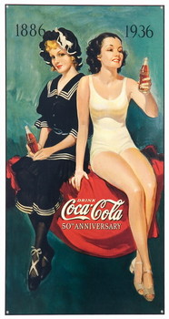 COKE BATHING BEAUTIES Metal Sign
