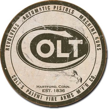 Metal sign COLT - round logo