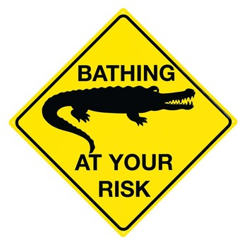 CROC - Bathing at your risk Metal Sign