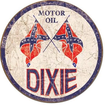 DIXIE GAS - Weathered Round Metal Sign