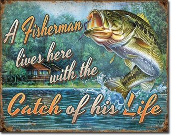 Fisherman's Catch Metal Sign