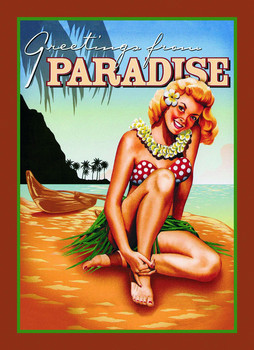 GREETINGS FROM PARADISE Metal Sign