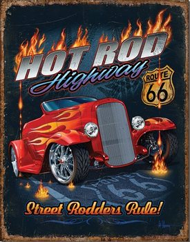 Hot Rod HWY - 66 Metal Sign