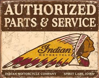 Indian motorcycles - Authorized Parts and Service Metal Sign