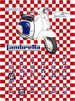 LAMBRETTA SX200 CALENDAR Metal Sign