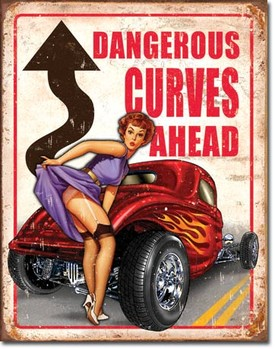 Metal sign LEGENDS - dangerous curves