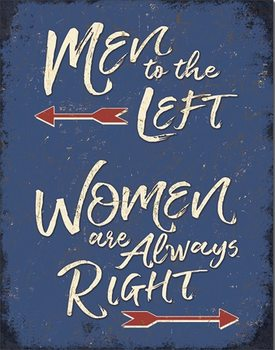 Men to the Left Metal Sign
