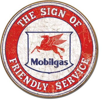 Mobil - Friendly Service Metal Sign