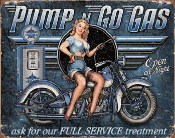 Metal sign PUMP N GO GAS