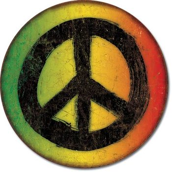 Rasta Peace Sign Metal Sign