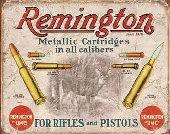 REM - REMINGTON - For Rifles & Pistols Metal Sign