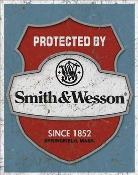 S&W - protected by Metal Sign