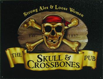 SKULL and CROSSBONES Metal Sign