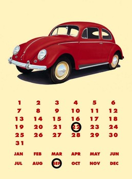 VW BEETLE CALENDAR Metal Sign