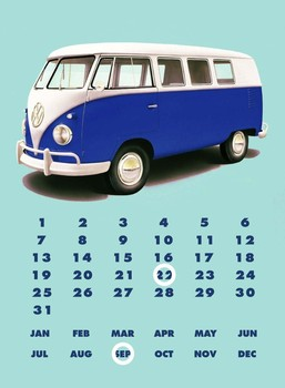 VW KOMBI CALENDAR Metal Sign