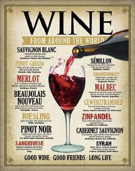 Metal sign WINE - From Around the World